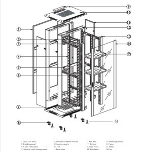 Miidoe spcc 27u standard dimensions network cabinet co-location server rack for date center room