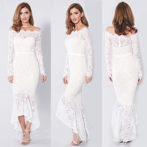 New Spring Autumn Women Girls Solid Color Off Shoulder Lace Eyelash Collar Long Sleeve Pencil Evening Party Cocktail Long Dress