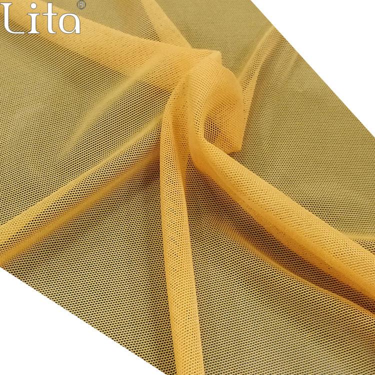 Lita J080420# Nylon&Spandex  mesh fabric elastic tulle good quality net fabric for swimwear underwear