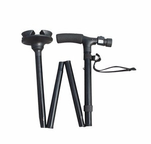 Old people Medical get up and go cane with double grab handle and LED walking stick