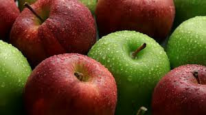 Red and green fresh apples