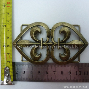 Two Pieces Joint Metal Alloy Vintage Interlocking Buckle Belt Decorative