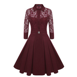 Vintage style turn-down collar chiffon lace A-line dress for ladies