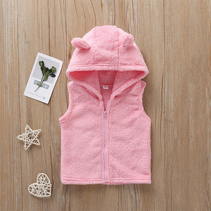 Wholesale Baby Girl Velour Hooded Waistcoat Baby Waistcoat for Autumn and Winter