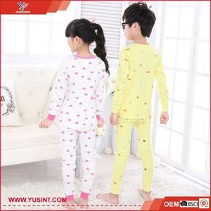 wholesale cotton childrens long johns pajamas long sleeve sleepwear baby night wear kids pajamas