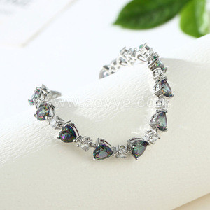Wholesale fashion Indian jewelry colorful hearts zircon bracelet small drops crystal chain accessories wholesale