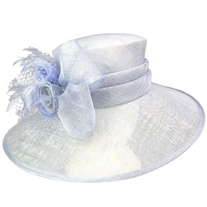 Women's Summer Sinamay Kentucky Derby Feather Bridal Party Beach Sun Hat Millinery