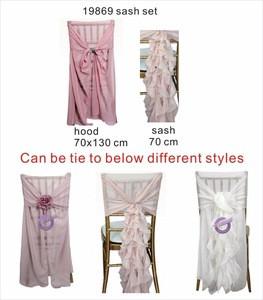 YT07038 wholesale ivory wedding cheap ruffle chiffon chair sash