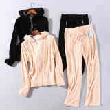 Women's Fashionable winter velvet smooth and comfortable outdoor casual sports sweater suit