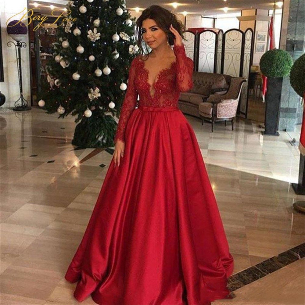 Sexy Red Lace Evening Dress Long Sleeves Satin Skirt Formal Party Dress Haute Couture Fine Lace Prom Dress