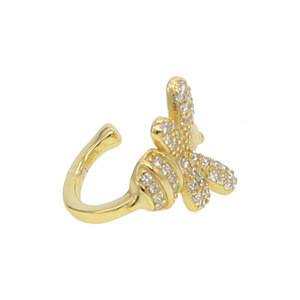 2018 newest gold filled bee cuff earring with cz paved beautiful 925 silver ear jacket cuff for girl