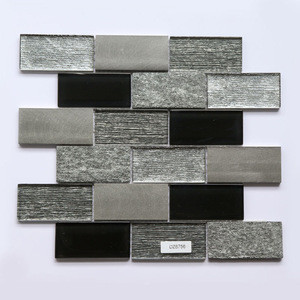 300x300mm Interior Decoration Glass Tiles Natural Marble Black Stone Mosaic