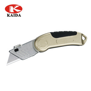 Folding Pocket Utility Knife - Heavy Duty Box Cutter, Quick Change Blades, Lock-Back Design, and Zinc alloy body