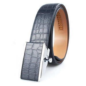 Gorgeous blue crocodile genuine leather belts with durable sticking leather buckle for men business