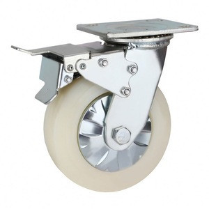 Heavy Duty 8 Inch Braked Caster Wheel For Hotel Maid Cleaning Trolley
