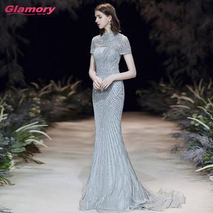 Luxury Beaded Formal Gowns Long Silver Short Sleeves Trumpet Evening Gown for muslim evening dress