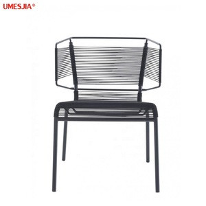 Modern  garden chair Stainless steel frame outdoor and indoor FIFTY dining chair made of PE rattan rope garden chair