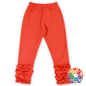 Newest Baby Orange Yellow Color Icing Ruffle Pants Soild Color Baby Icying Pants Cotton Triple Ruffle Pants For Girls