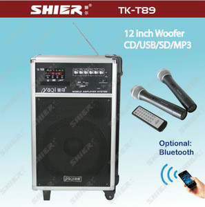 SHIER TK-T89 Professional 12inch wireless rechargeable wooden power amps