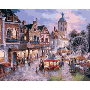 Shopping plaza oil paint by number europe style for home decor hotel wall decoration, diy oil painting by  numbers for adults