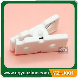 White plastic garment clip with teeth, 4mm hole garment clip