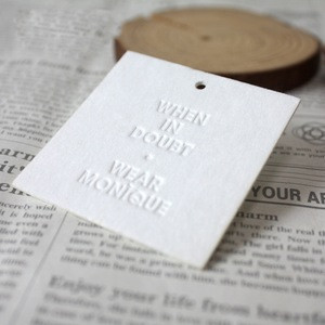 Wholesale Custom Embossed Logo Only Textured Paper Garment Paper Printed White Tags, Clothing Hang Tag