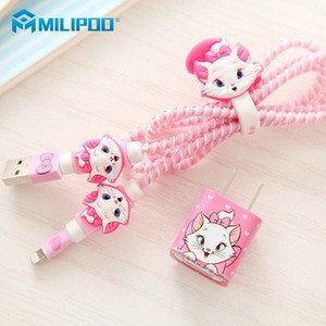 Wholesale USB Cable Earphone Protector Set with Cable Winder Cartoon stickers for iPhone Cable and Charger