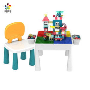 Yuxin Multifunctional Learning Building Blocks Table 677-6A Chair large particles assembled toy baby puzzle game for children