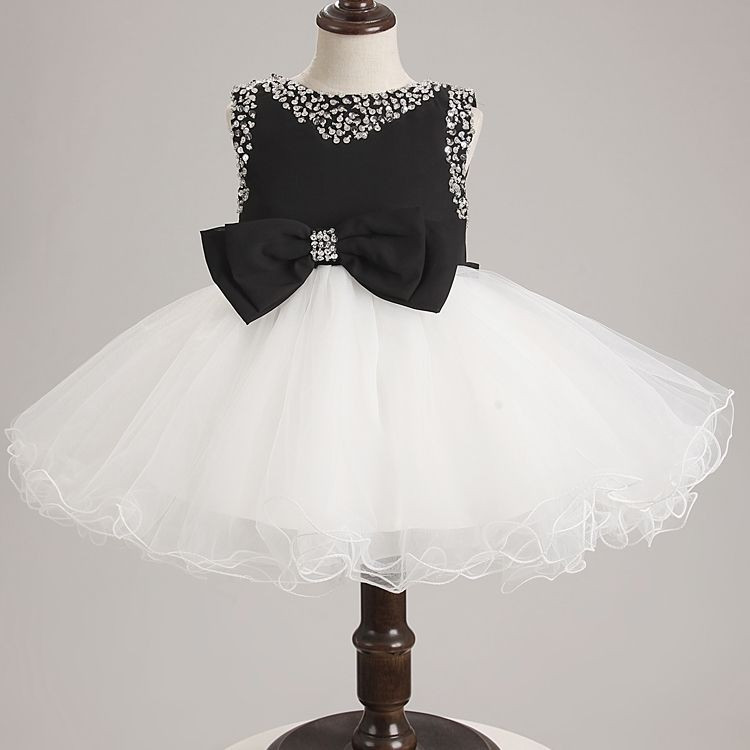 zipper-back white and black bow flower girl prom wed dress cheap price