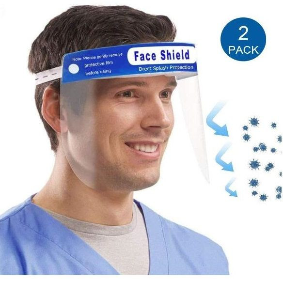Safety Face Shield Protection Hat with Clear Wide Visor Lightweight Transparent Shield with Adjustable Elastic Band
