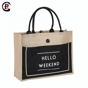 Custom biodegradable black jute fabric shopping bag with cotton pocket and  button picture of jute bag
