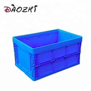 Custom plastic containers turnover box plastic folding storage crate with locks handle lids