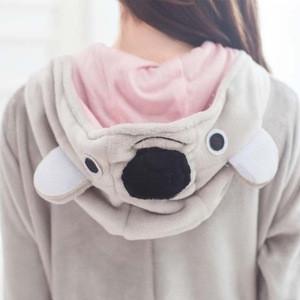 Cute Gray koala Sleepwear Unisex Cotton Flannel Bathrobe Adult Onesie Pajamas