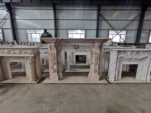 Factory Customize Price Indoor Fire Place Hand Carve Natural Stone Fireplace