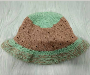 High Quality Custom Knitted Cotton Hat, Hand Knitting Children Cap Bamboo Cotton Fedora Cap