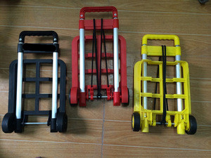 Plastic colorful cheap and portable foldable luggage cart