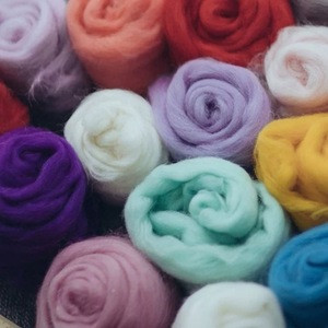 Top16 Colors Natural Merino Wool Roving Fiber Spinning And Felting Needle Craft