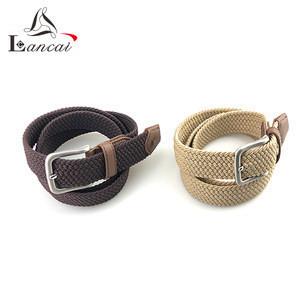 Wholesale custom knitted elastic braided mens rope belts men knit buckles belt for jeans