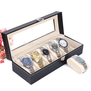 Wholesale Leather watch case, black leather watch box