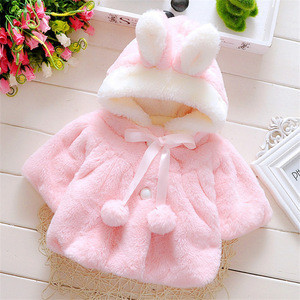 Winter Baby Girl Cute Warm Coat Outerwear Thick Fur Girl Rabbit Coat