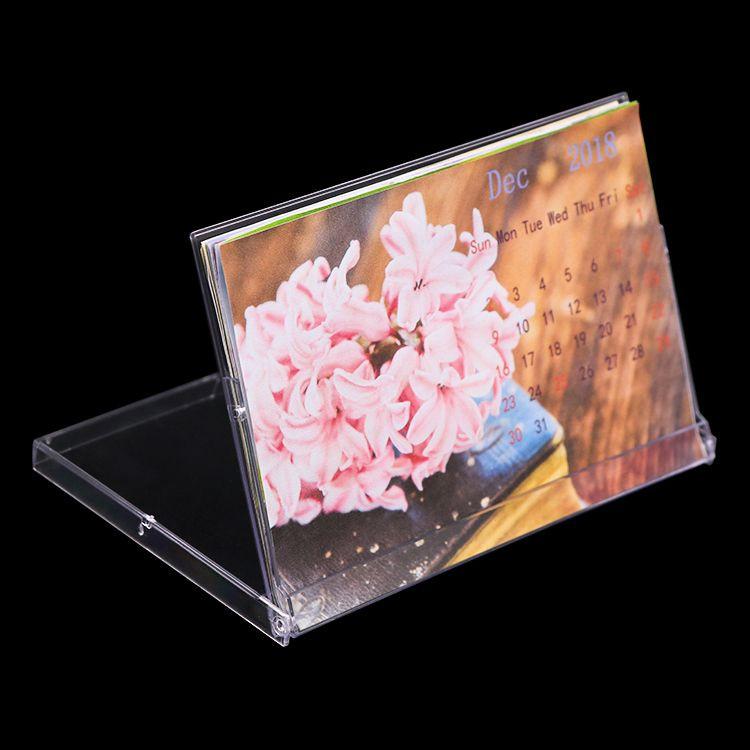 Wholesale Weisheng 4x6 inch Office Desktop Stand Plastic Box Calendar Display Calendar Case