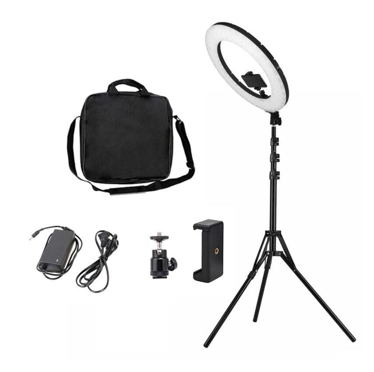 18 Inch LED Ring Light for Photography with Black and Pink Color LED Lamp