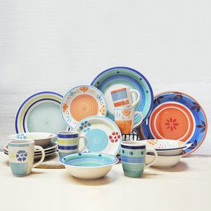 High quality stoneware ceramic Dinnerware Set. 16pcs or 20pcs Ceramic Dinner Set with custom logo,hand-painted cerammic dinner set