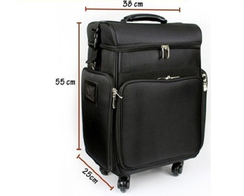 Large capacity trolley rolling 2 in 1 nylon cosmetic makeup train case with shoulder strap trays bags universal wheels