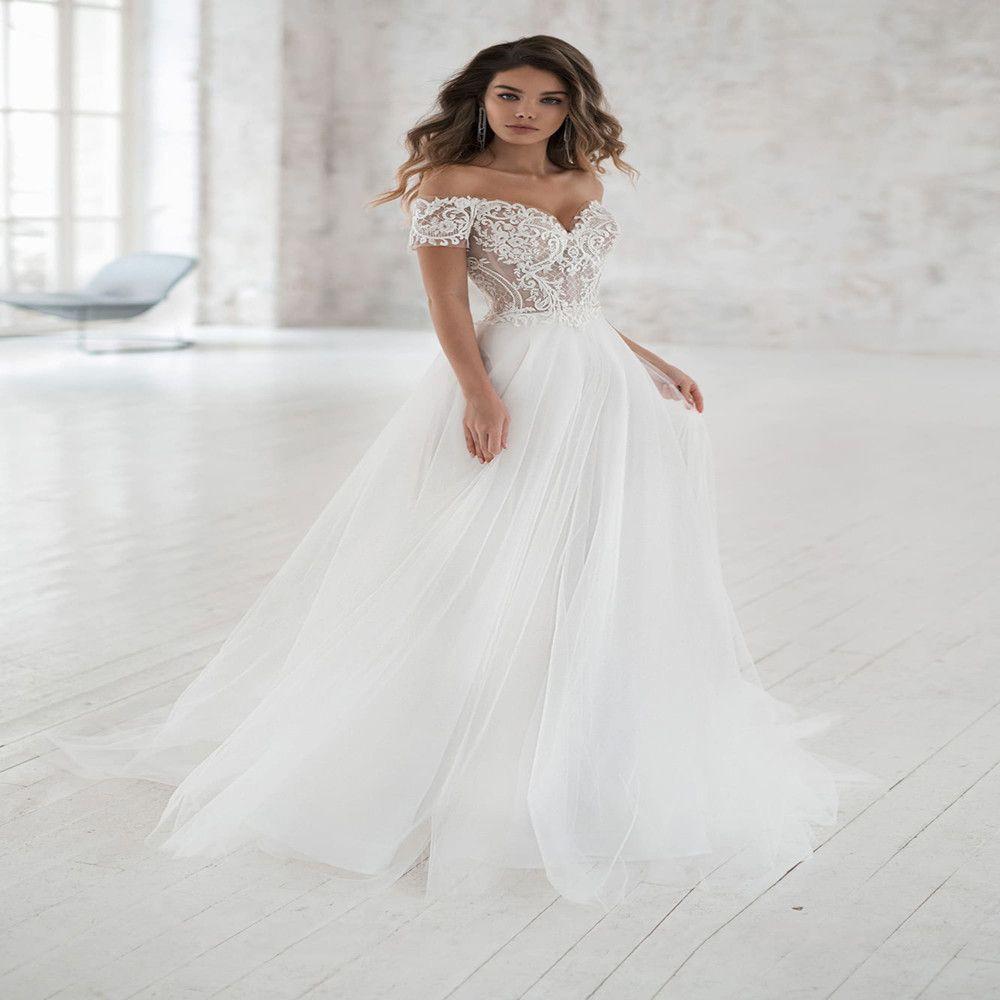 Elegant Off-shoulder Bohemian Wedding Dresses 2019 Custom Made Soft Tulle A-line Lace Bridal Gown Vestidos de Novia