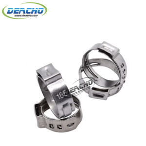 304 stainless steel single ear step-less hose clamp