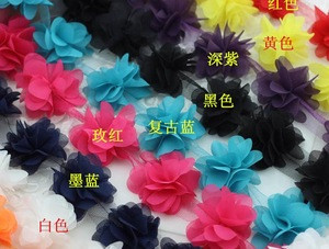 6CM Flowers 3D Chiffon Cluster Flowers Lace Dress Decoration Lace Fabric Applique Trimming