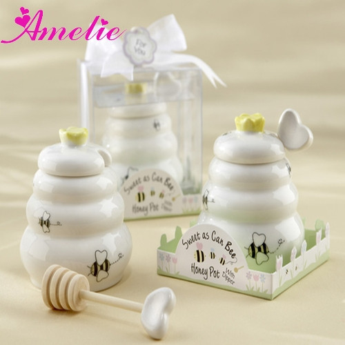 "A08G67 ""Sweet As Can Bee"" Party Decoration Wedding Favors Wooden Dipper Ceramic Honey Pot"