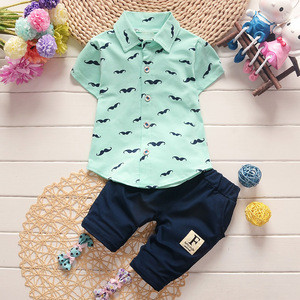 Baby Boy Clothing Sets Fashion T-shirt+Solid Pants Set Summer Outfit Toddler For Children