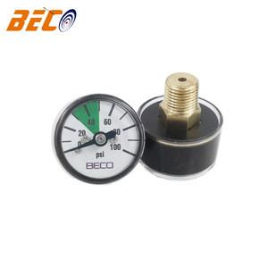 Beco 25mm mini pressure gauge for fire extinguisher 100psi plastic case brass connector pressure gauge custom logo